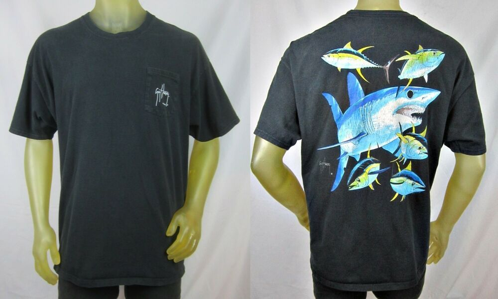 b4f02358 Guy Harvey Blue Water Short Sleeve Black Pocket T-Shirt Shark 2XL XXL  #AFTCOBlueWater #GraphicTee