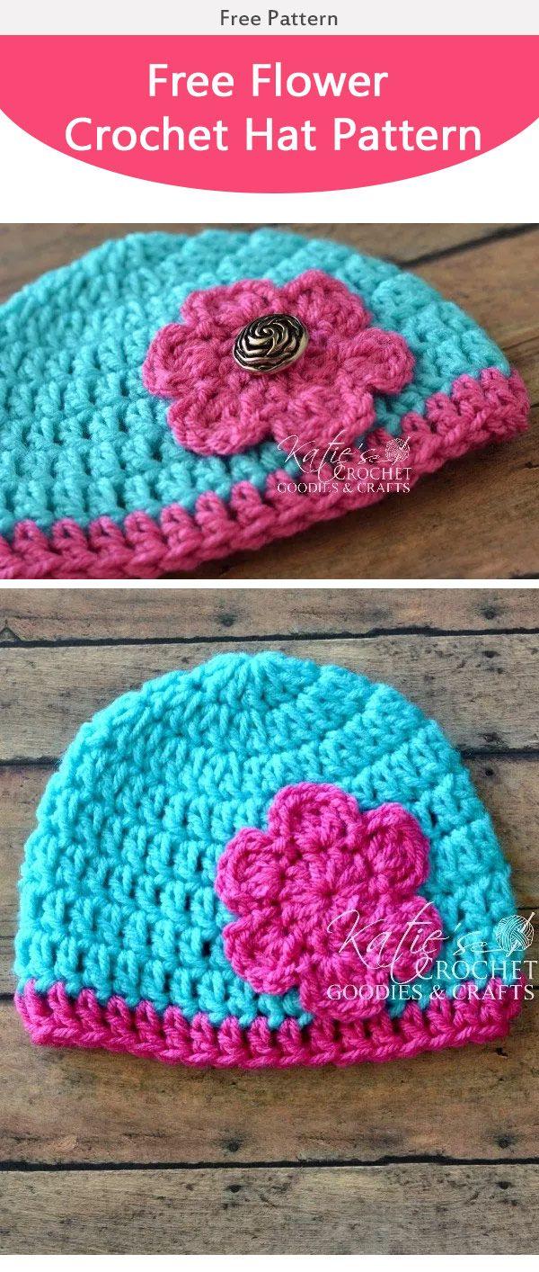 Easy Flower Baby Hat Free Crochet Pattern | Gorros, Gorros niños y ...