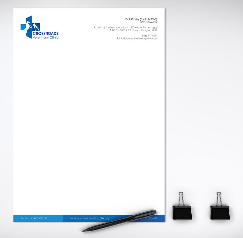 CrossRoads Veterinary Clinic Letterhead Design