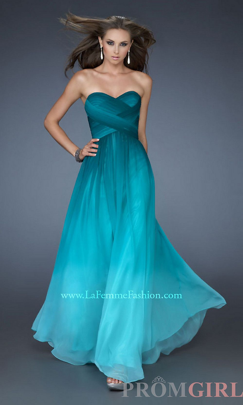Long Strapless Prom Dress, La Femme Ombre Strapless Gown-PromGirl ...