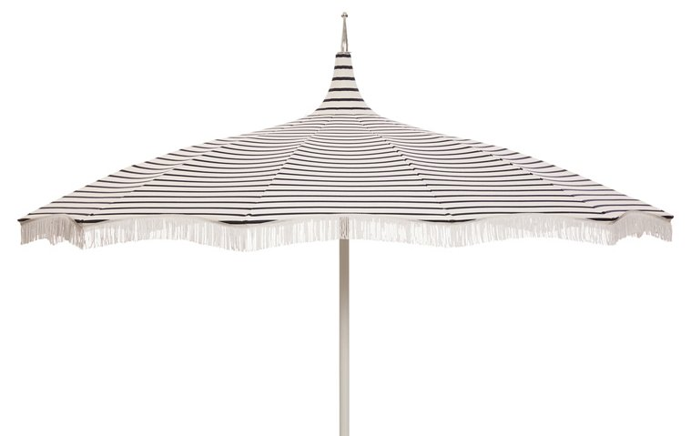 Ari Pagoda Fringe Patio Umbrella Indigo White Outdoor Umbrella