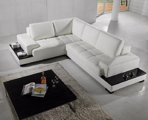 Sectional Sofa L Shaped White Leather Leather Corner Sofa