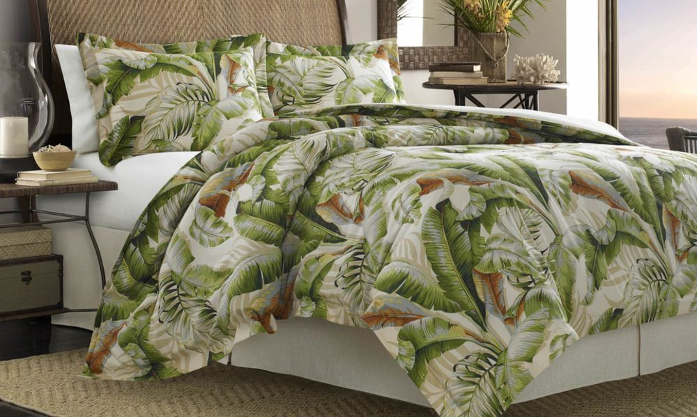 4 Pc King Green Tropical Print Comforter Shams Bed Skirt Tommy