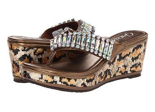 Flared Leopard Sequin & Rhinestone Wedge by Grazie Footwear