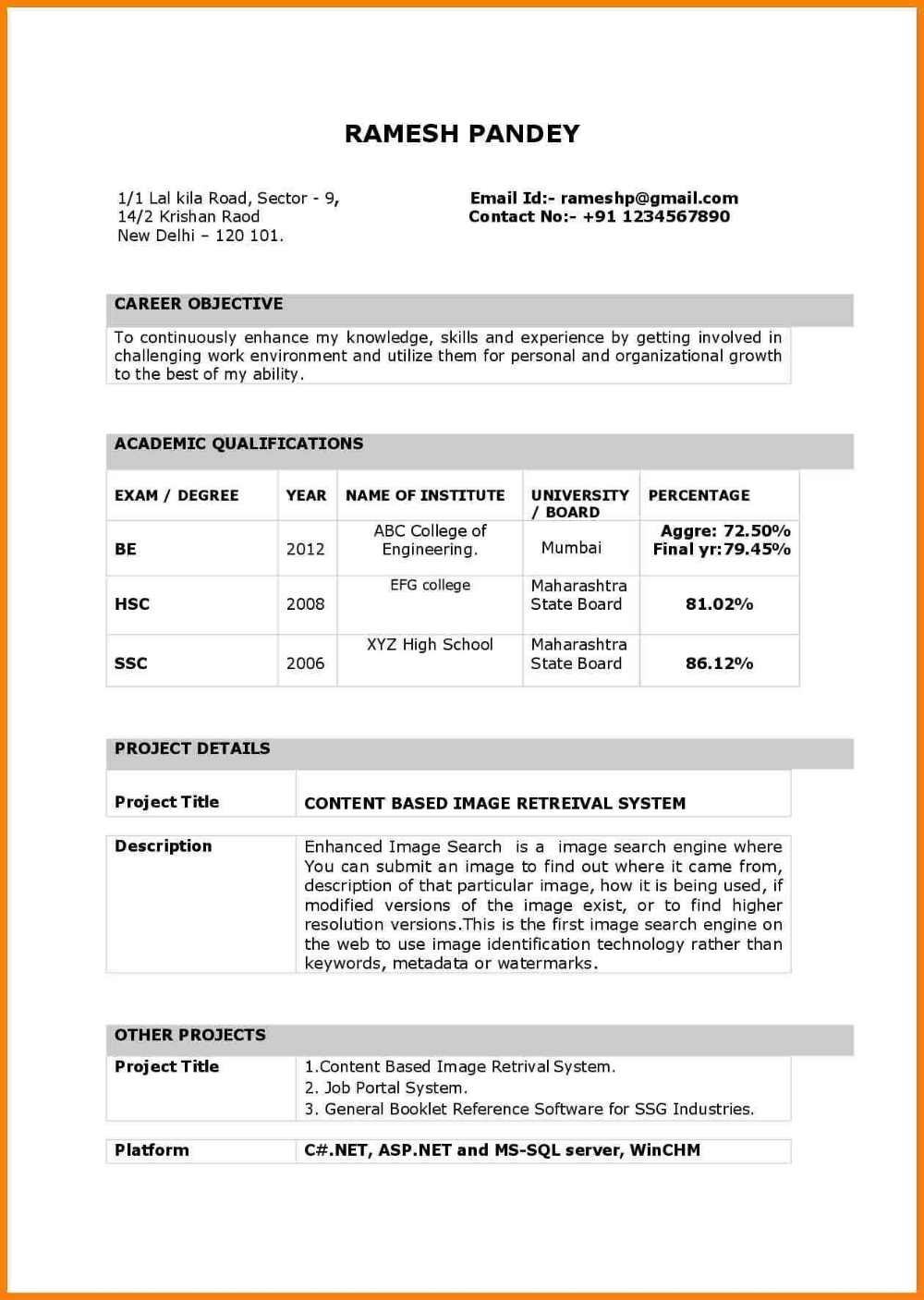 indian resume format Google Search Resume format in