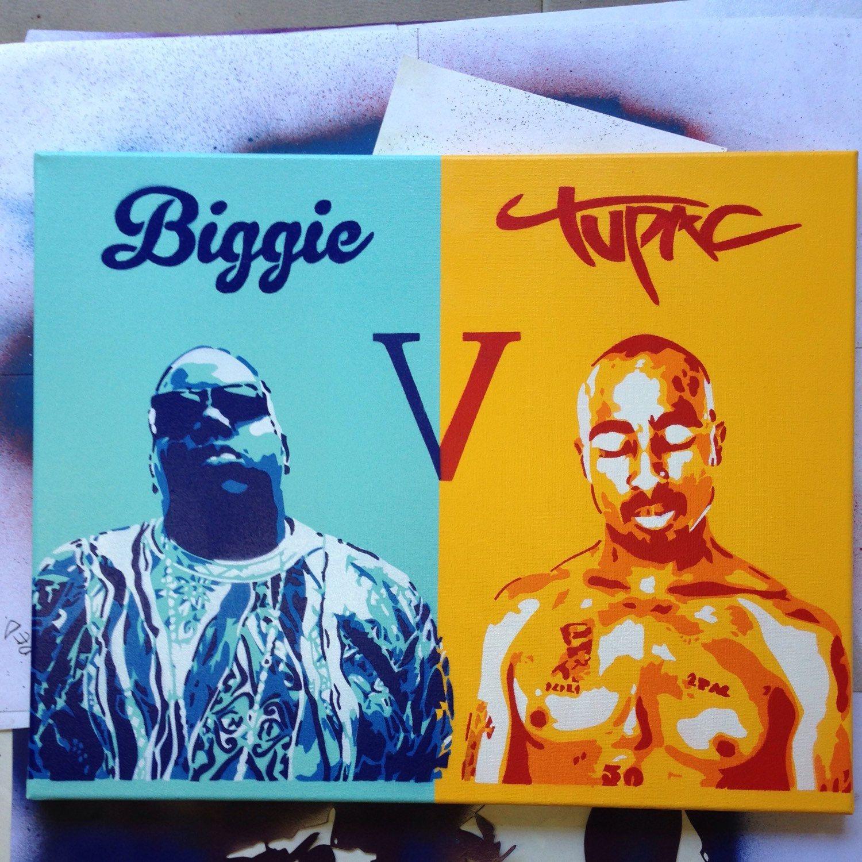 Tupac painting canvas stencil art spray paint art hip hop rap West ...