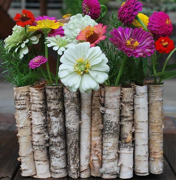Birch wood flower box