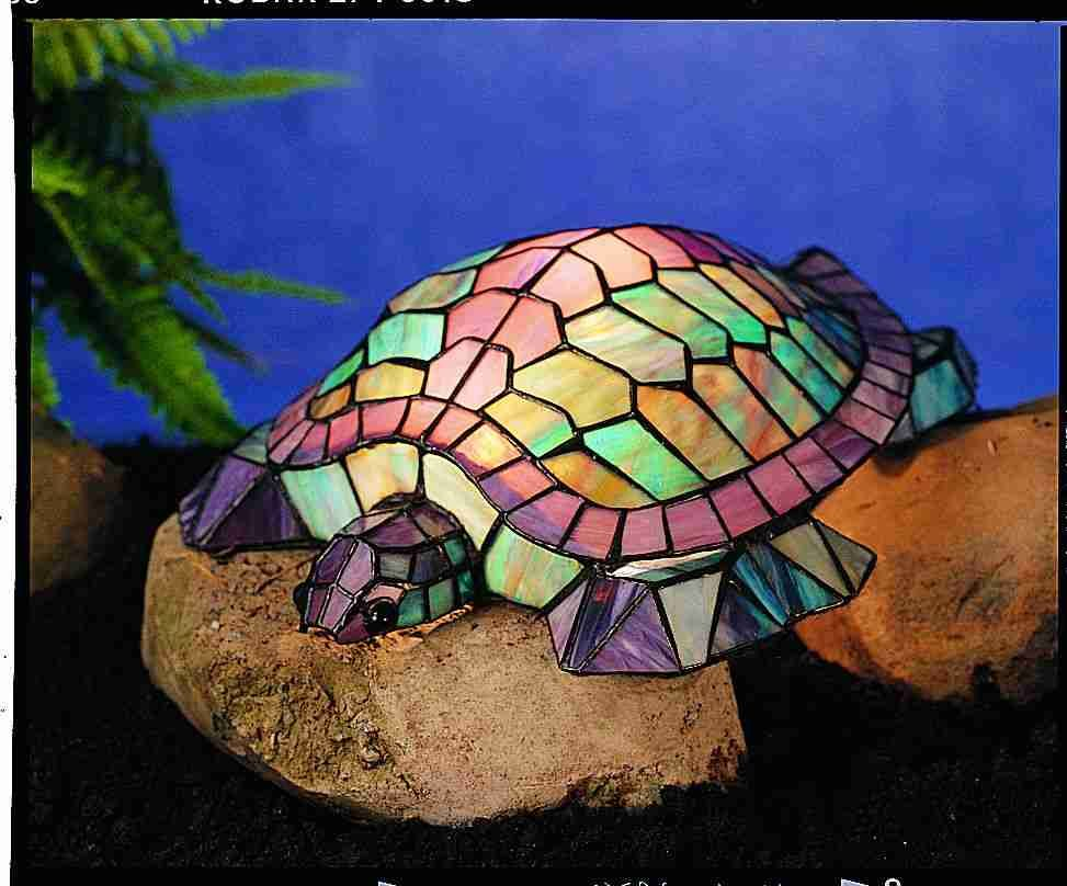 Turtle Stained Gl Soft Light Accent Stunning Purple Colors And Blue Mauve Are