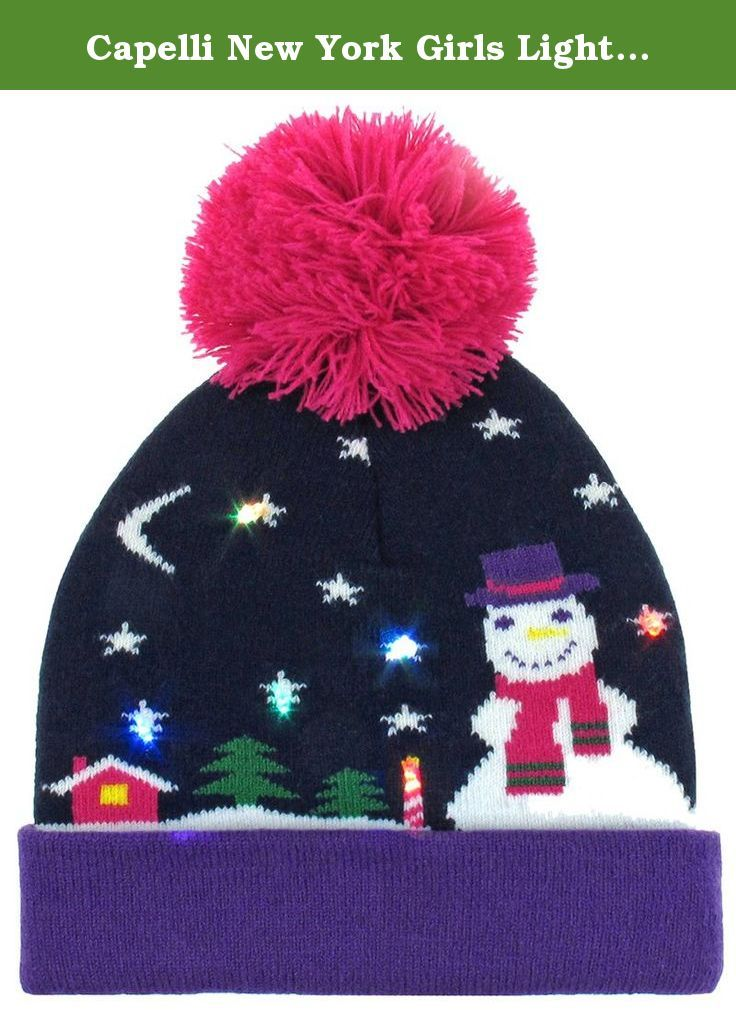 Capelli New York Girls Light Up Snowman Knit Hat with LED Lights Navy Combo  S   5f6177ad314d