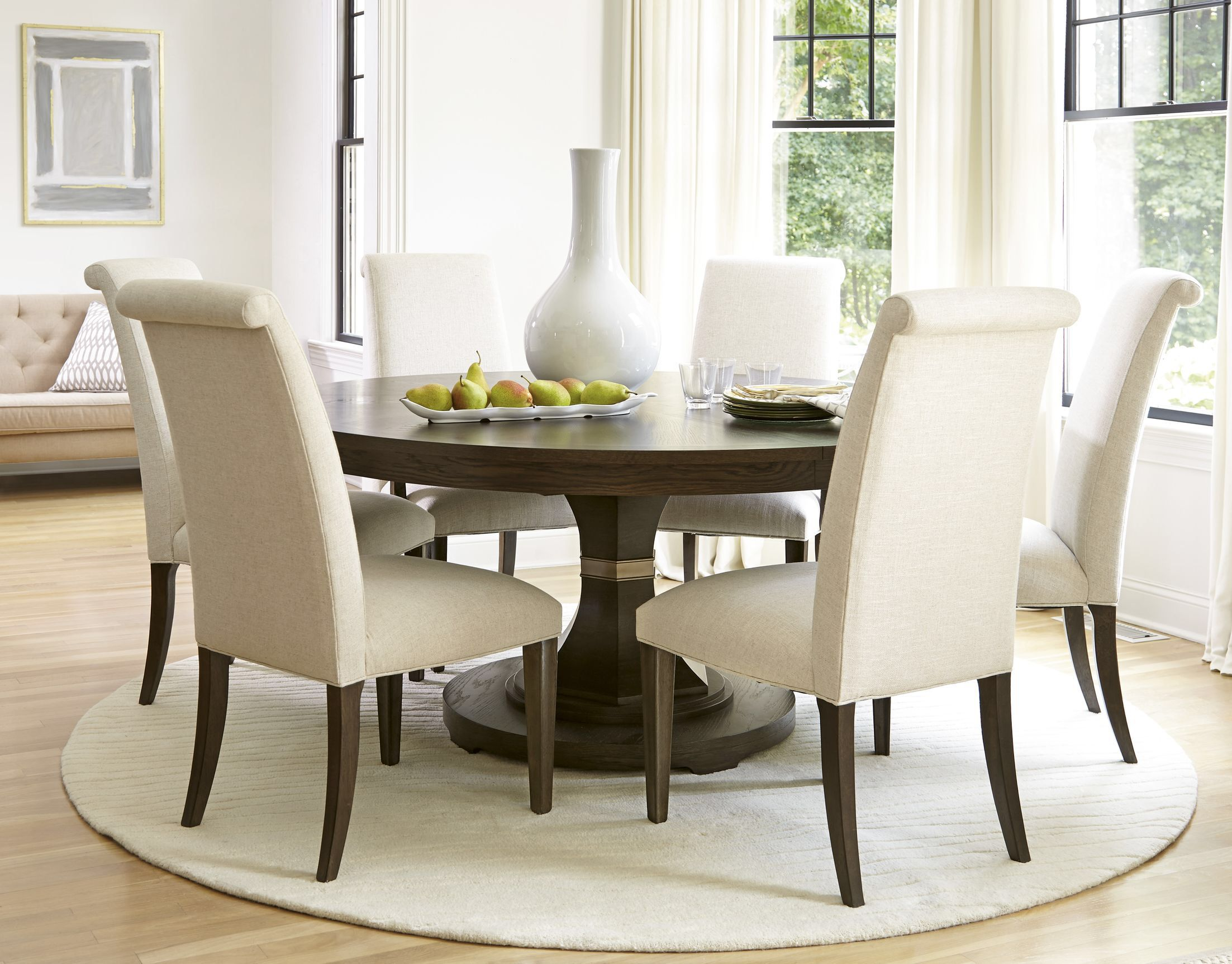 California Extendable 7 Piece Dining Set Round Table Sets