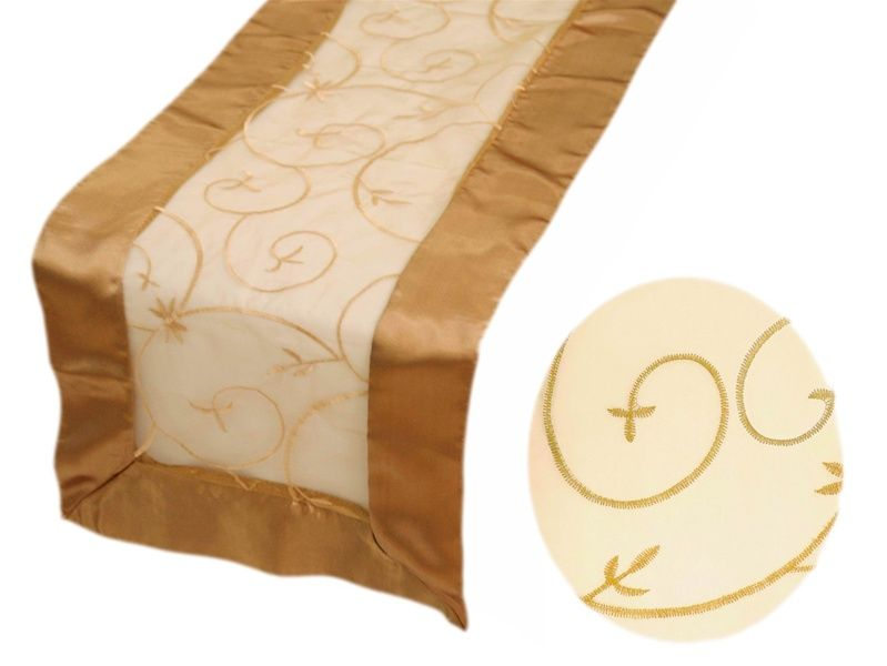 Table Runner (Embroider) - Gold | Gold table runners ...