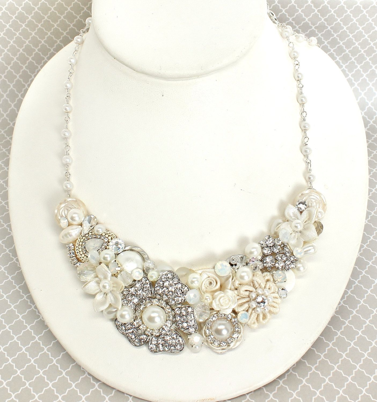 Bridal Statement Necklace- Rhinestone Bridal Bib- Vintage-Inspired ...
