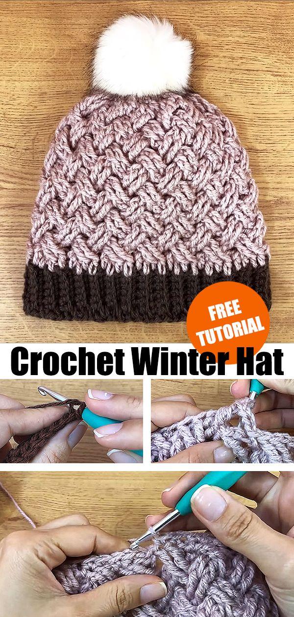 Crochet Winter Hat Beanie #crochetscarves