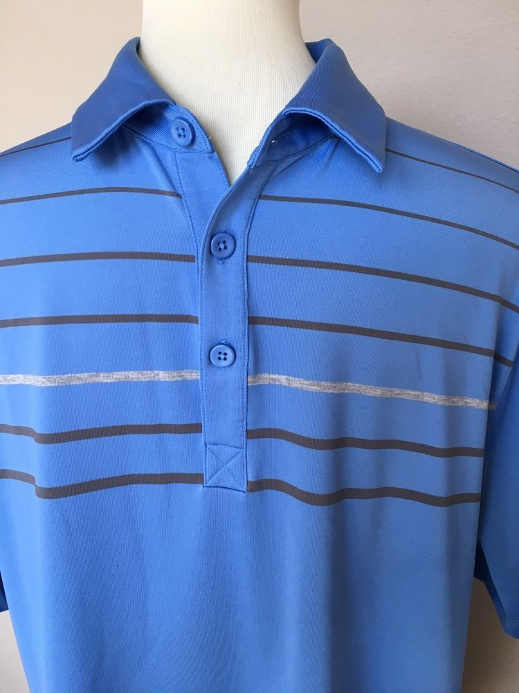 6d8e50680c UNDER ARMOUR Loose Heat Gear Golf Polo Shirt Mens Large Blue Striped Solar  Fundr #Underarmour #PoloRugby