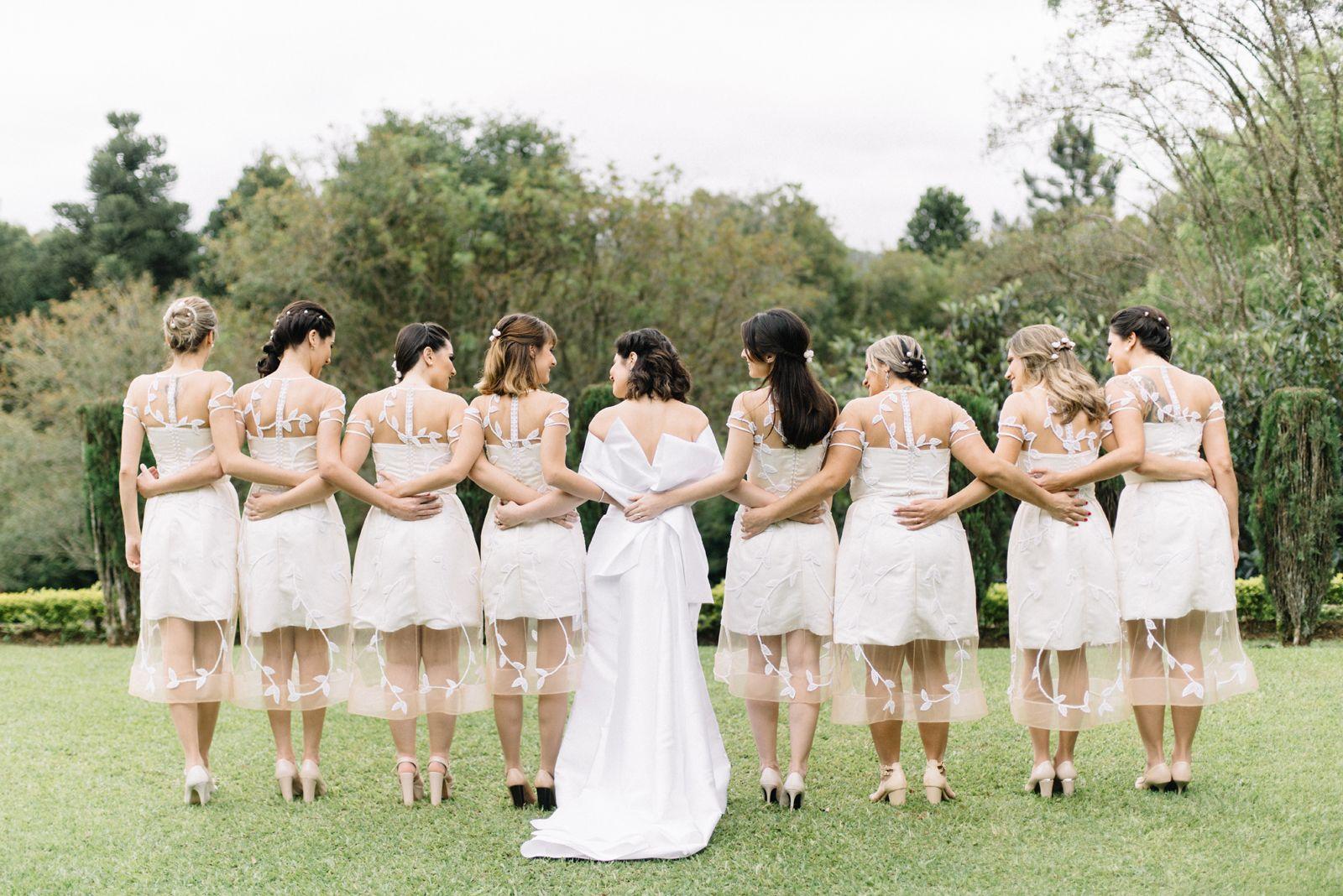 madrinhas de vestido branco