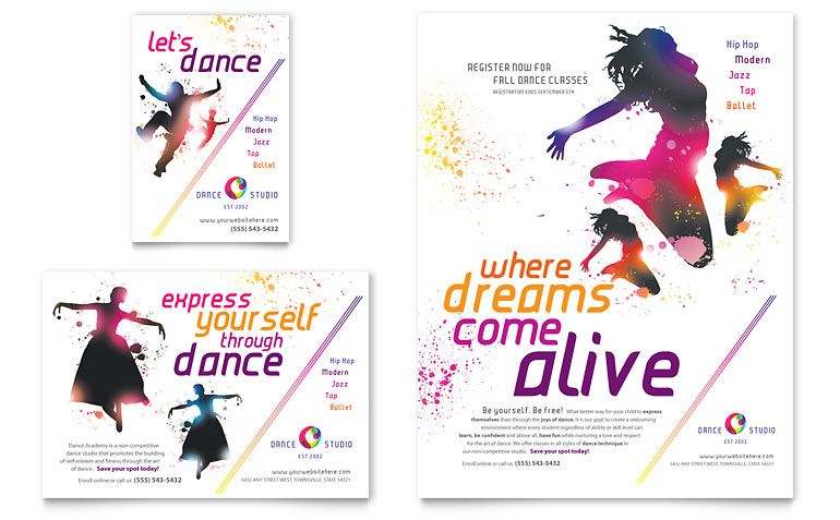 Dance Studio Flyer Ad Template Word Publisher Dance Studio Dance Poster Dance