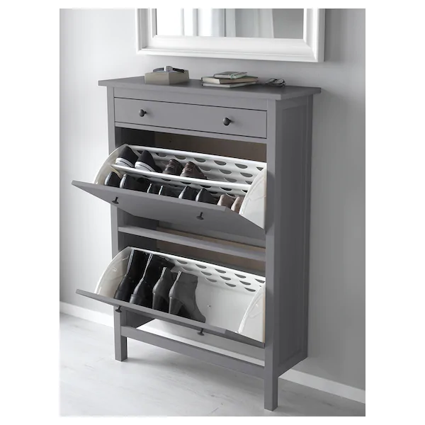Hemnes Armoire A Chaussures 2 Casiers Gris Ikea Ikea Penderie Pas Cher Placard Chaussure
