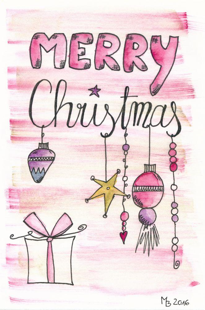 weihnachtskarten selber machen lettering aquarell weihnachtskarten