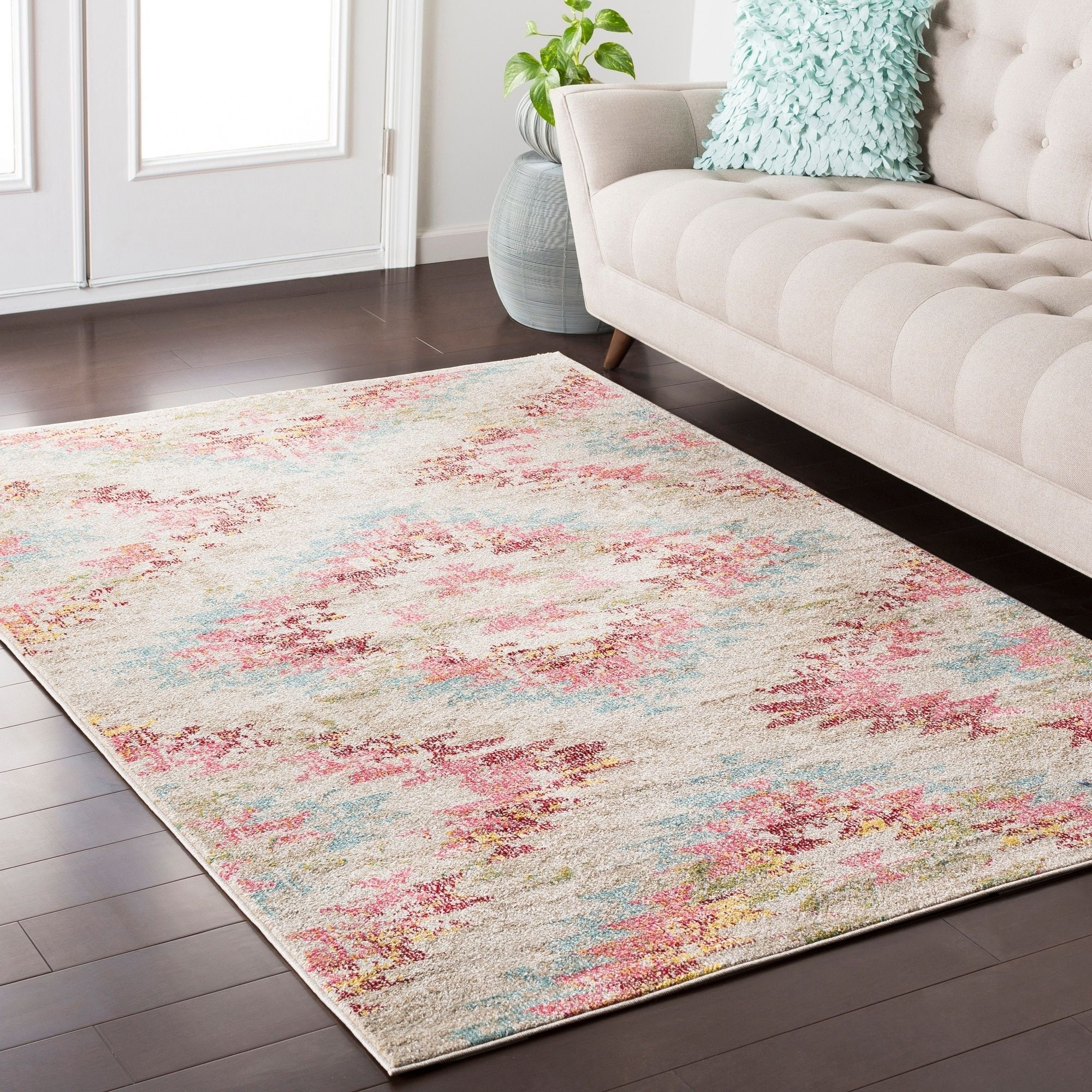 boho modern geometric pastel pink blue area rug 7 10 x 10 3 7 10 x 10 3 pink beige area on boho chic kitchen rugs id=50933