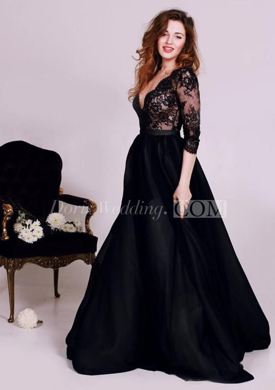 76358befa3d Sexy Black Lace Appliques V-neck 2016 Evening Dress 3-4-Length Sleeve A-line