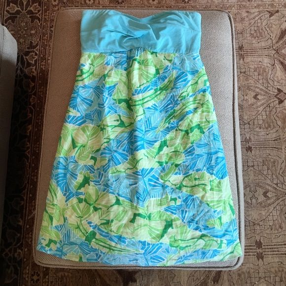 Lilly Pulitzer Strapless Dress Lily Pulitzer Green/Blue Pattern Strapless Dress 100% Linen Skirt;  Bodice: 95% Cotton 5% Spandex; Lining 100% Cotton Lilly Pulitzer Dresses Strapless