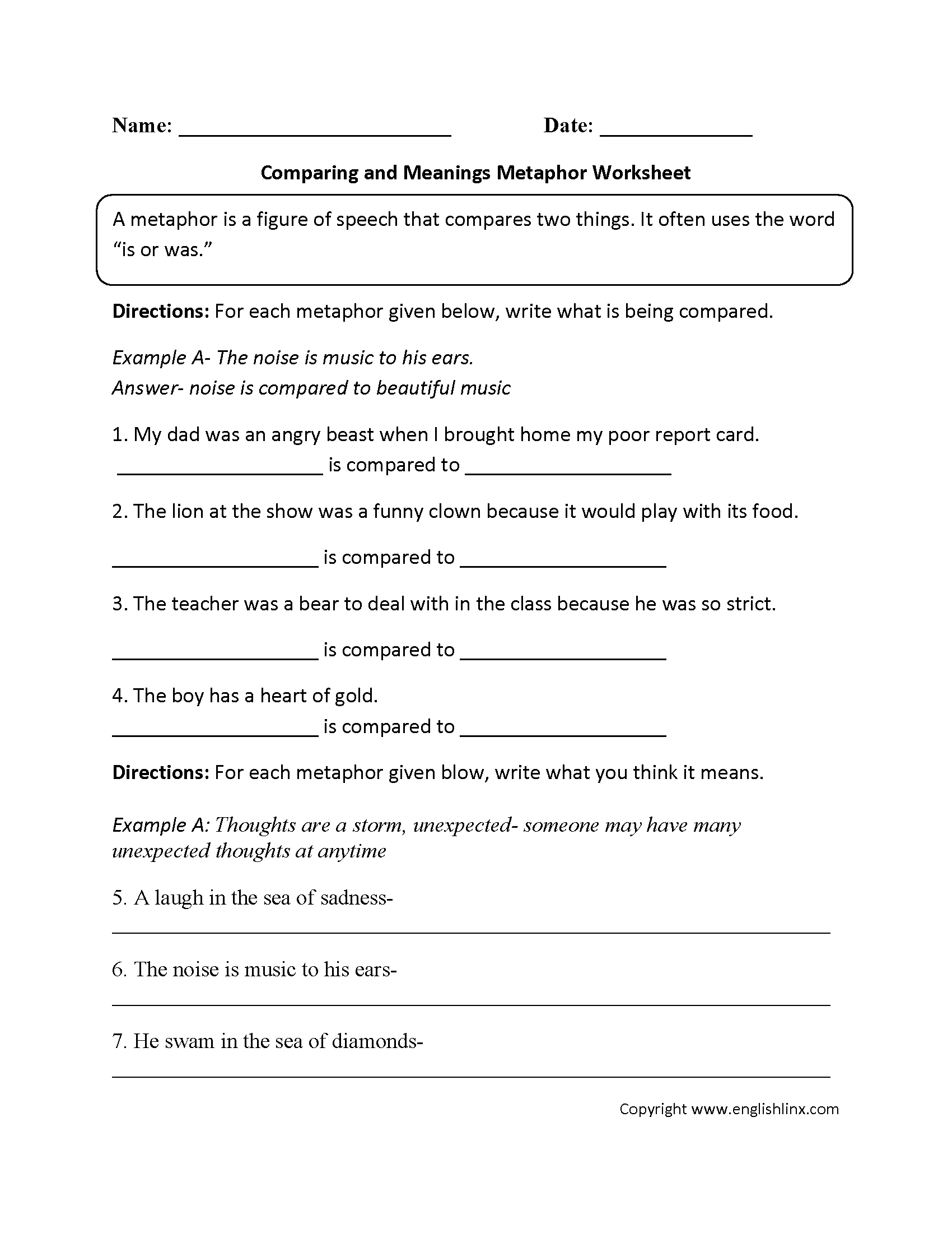 Comparing and Meanings Metaphor Worksheet – Figures of Speech Worksheet