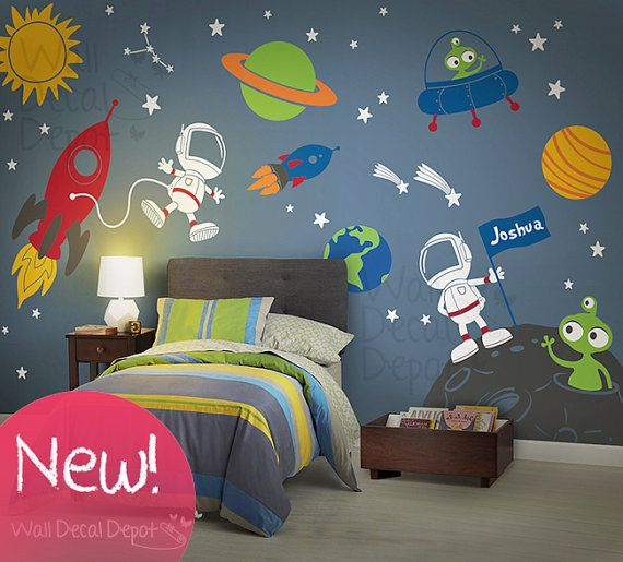 Space wall decal  Planets  Astronaut  Boy  galaxy  children  Rocket Ship. Space wall decal  Planets  Astronaut  Boy  galaxy  children