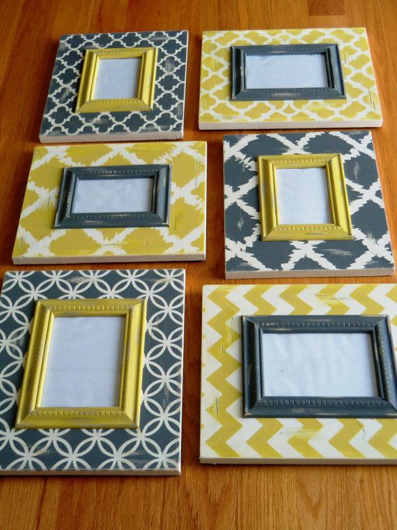 Set of 6 distressed Chevron and Moroccan grey and yellow (6) Frame ...