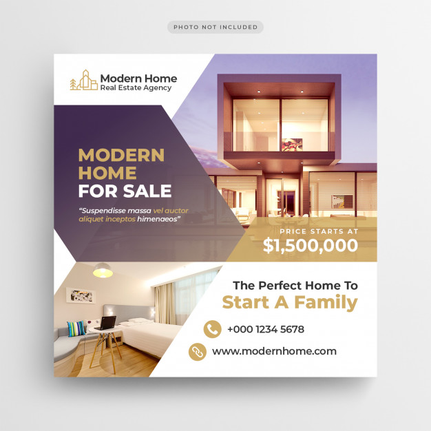 Real Estate Social Media Banner Or Square Flyer Template Real Estate Banner Real Estate Marketing Design Banner Design Layout