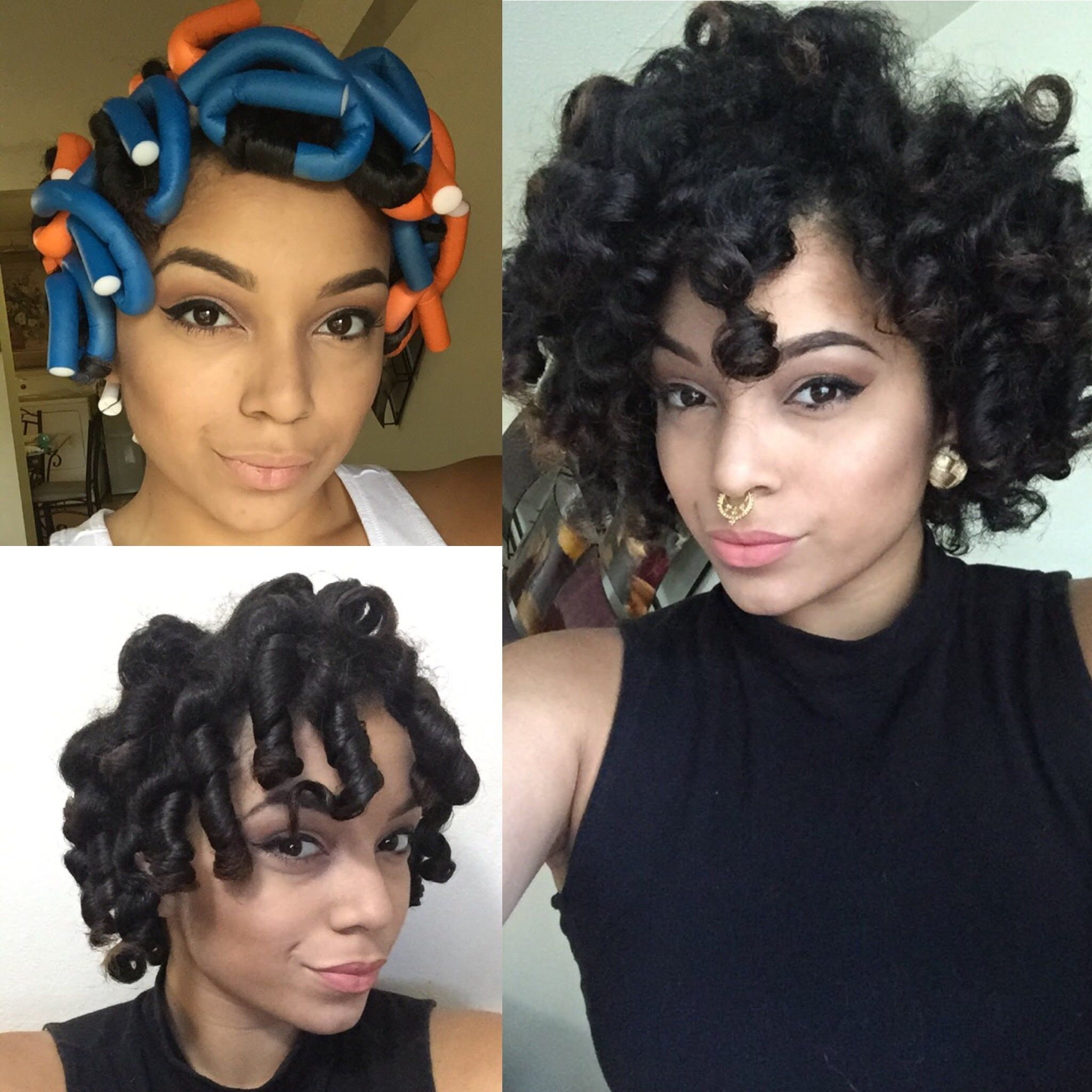 Flexi Rod Or Perm Rod Set Into A Faux Hawk Done On Kinkycurlyrelaxedextensionsboard Natural Hair Curly Hair Styles Natural Hair Styles Hair Styles