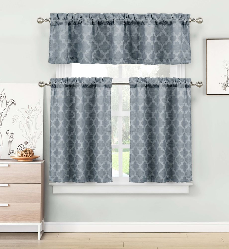 Geometric Jacquard Kitchen Window Curtain Tier & Valance Swag Set ...