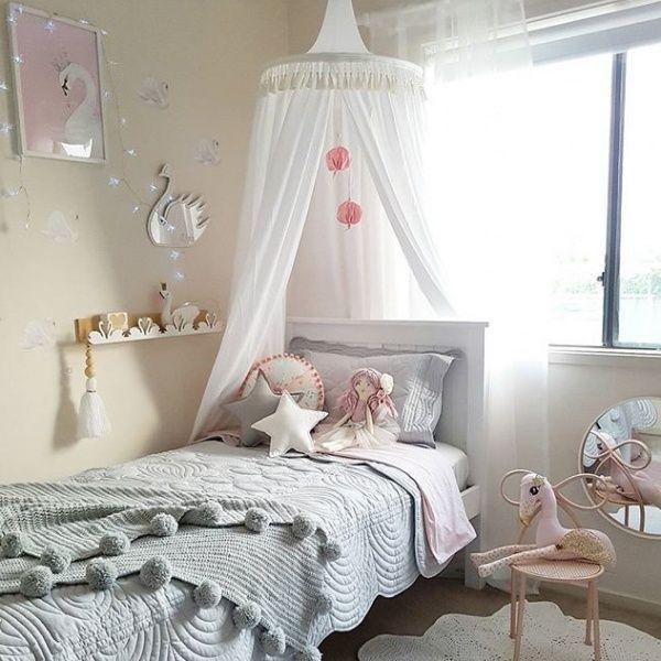 Childrenu0027s Bed Canopy Australia u2013 Light Grey & Freddie u0026 Ava | TeePee Kids Bed Canopy | White | Nursery/ kids ...