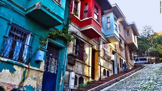Balat was once Istanbul's old Jewish quarter. Its buildings are a sea of yellow, pink, red, blue and green.