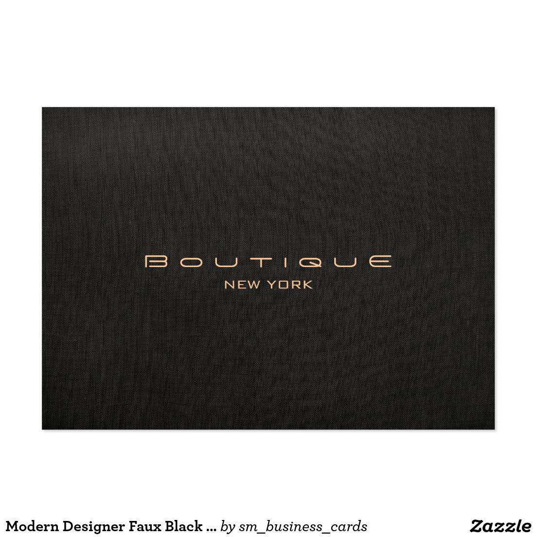 Modern Designer Faux Black Linen Professional Large Business Card ...