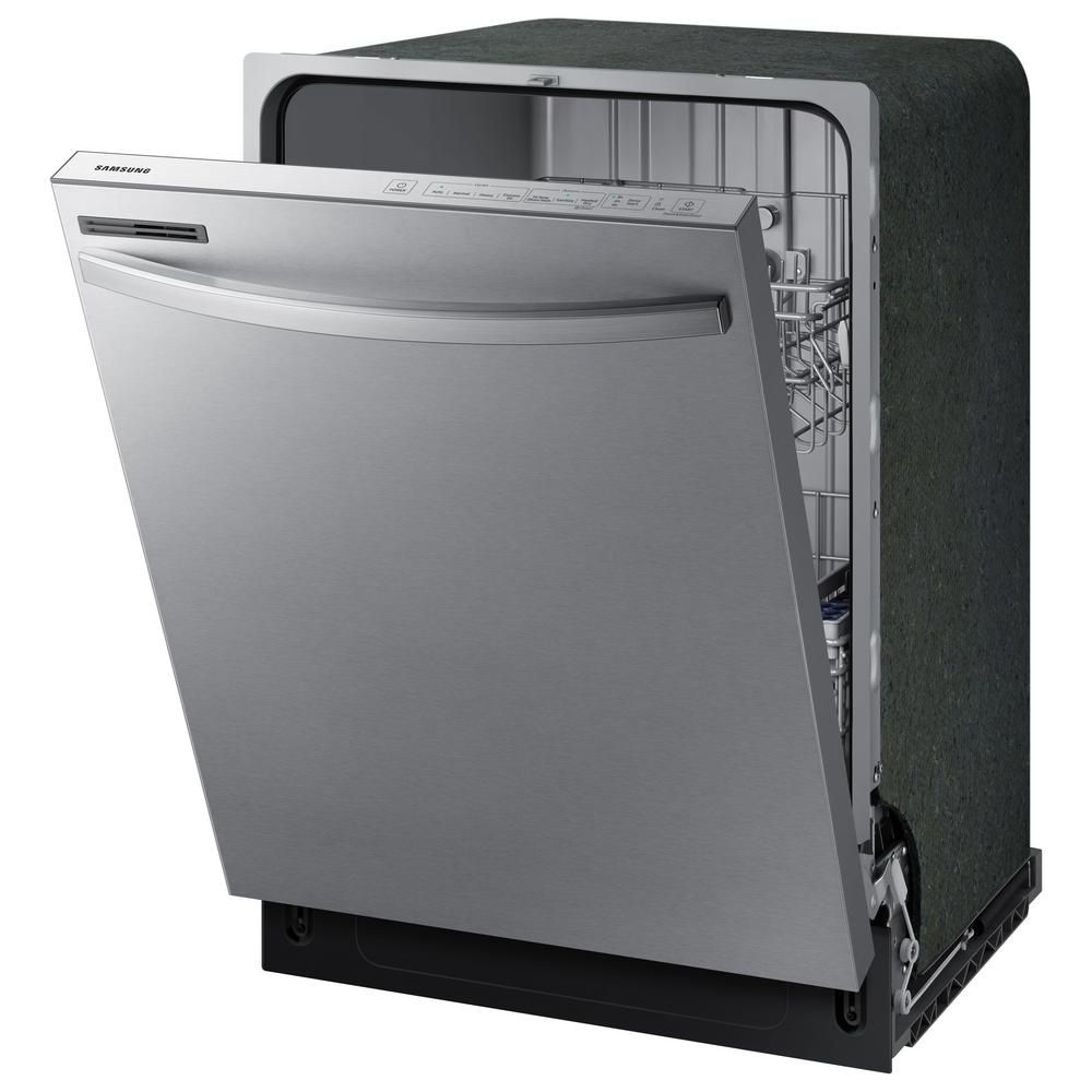 Samsung 24 In Stainless Steel Top Control Built In Tall Tub Dishwasher With Stainless Steel Interior Door And 55 Dba Dw80r2031us The Home Depot Top Control Dishwasher Samsung Stainless Steel Built In Dishwasher