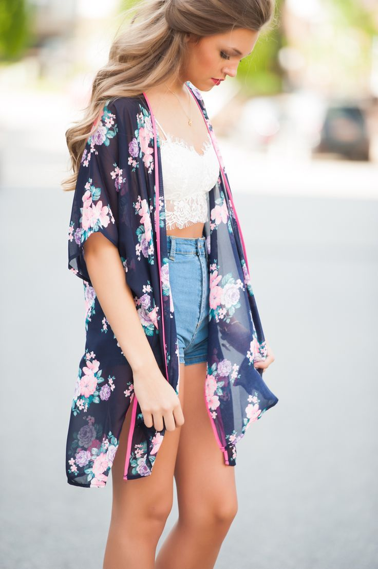 e0d47ced4cd7 Denim Shorts and Crop Top with Sheer Cardigan   Kimono - Music Concert    Festival Outfit - School Appropriate Outfit