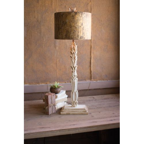 Kalalou Ccg1572 White Wash Antique Gold One Light Carved Wooden Base Table Lamp White Wash Antique Gold Rustic Rustic Table Lamps Metal Lamp Shade Table Lamp