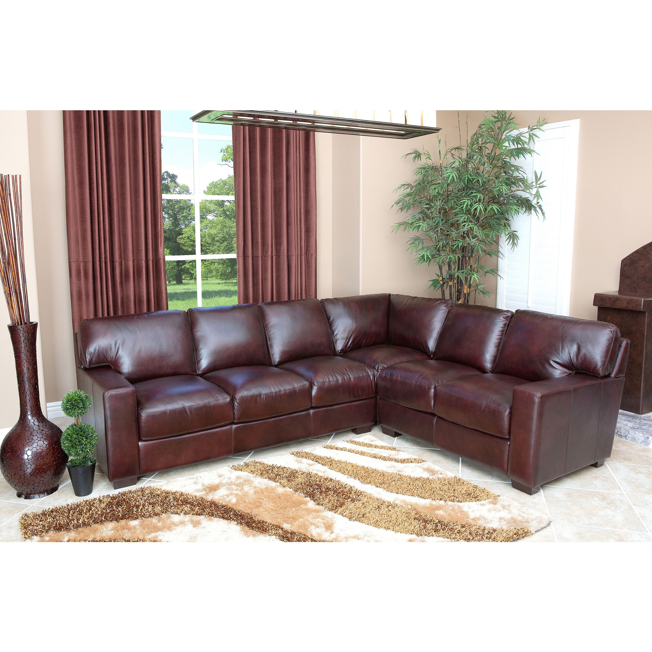 This Is A Hand Rubbed Leather Sectional Sofa By Abbyson Living. Crafted Of  Durable, High Grade Italian Leather That Is Both Soft And Supple, This  Collection ...