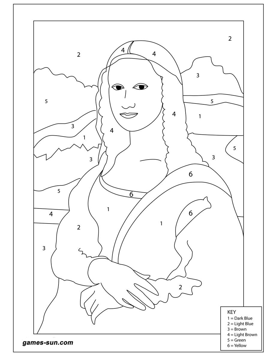 MonaLisa_coloring_by_numbers_pictures_for_kids_girls_boys_children4 ...