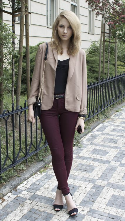 beige blazer and burgundy pants | Thinking I could pair with bone blazer and brown oxford booties for work My closet