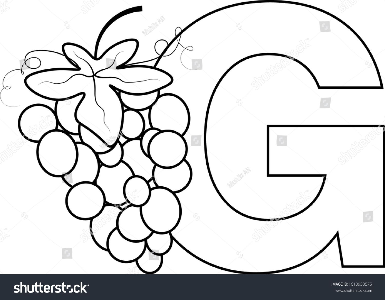 Educational Grape Fruit Alphabet Letter Coloring Book For Children Letter G Ad Ad Fruit Alphabet Educational Grape Lettering Alphabet Alphabet Lettering