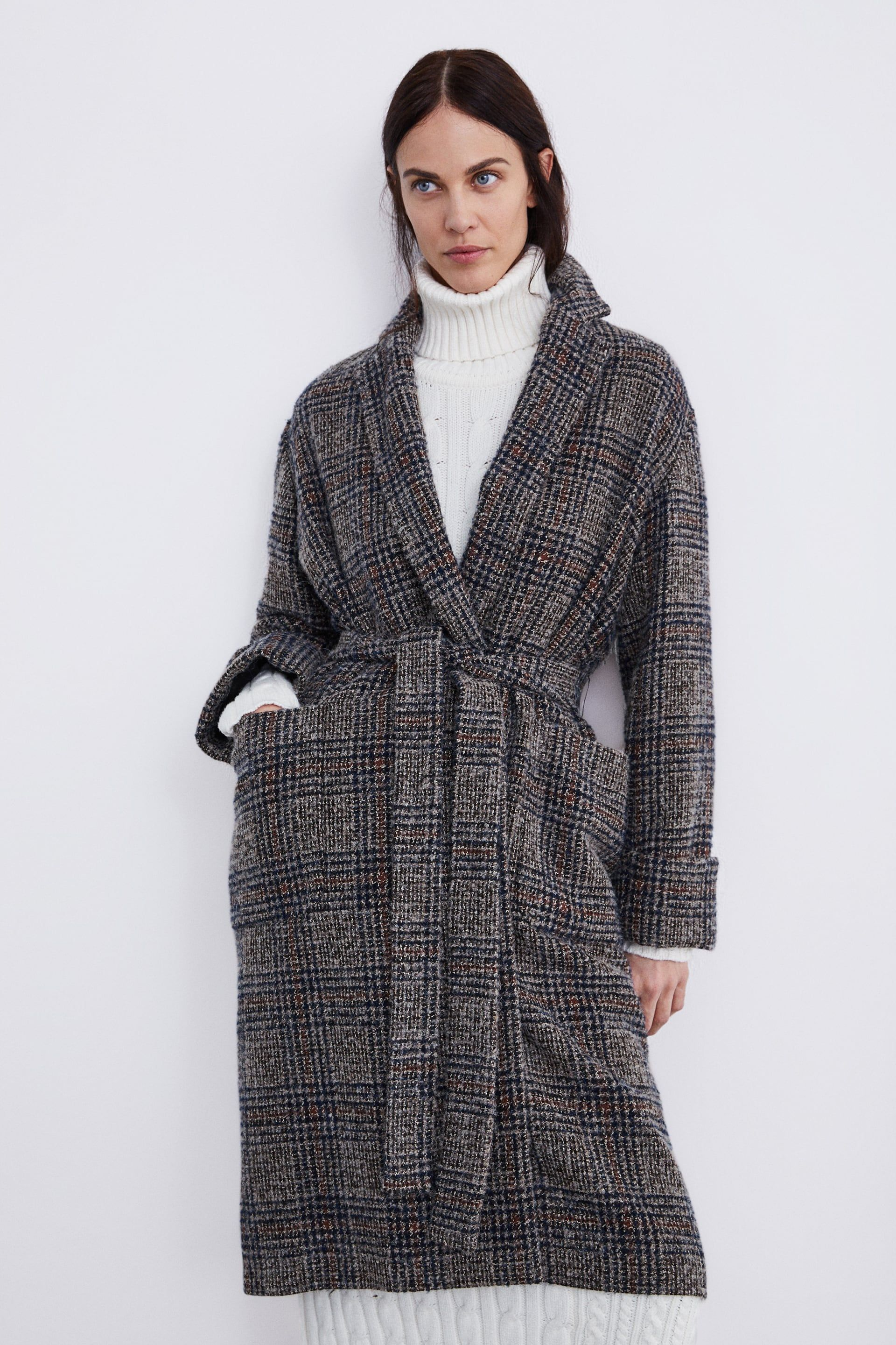 261b2a7b84449 Image 4 of BELTED PLAID COAT from Zara