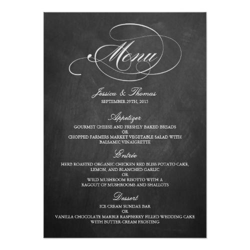 Elegant Chalkboard Wedding Menu Templates Card Wedding menu - bar menu template