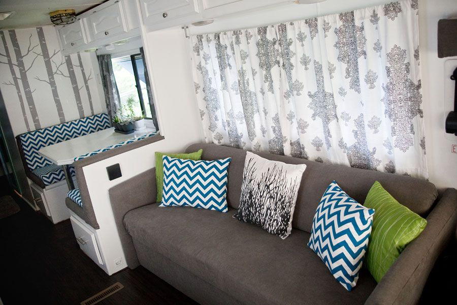 Sheer Wall Curtain Behind Couch Rv Renovation Ideas