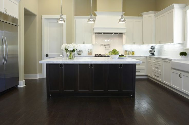 Kitchen Backsplash White Cabinets Dark Floors kitchen, white cabinets, dark wood island, wood floor - google