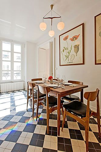 Breakfast space.  Rameau Paris Apartment Rental | Designtripper