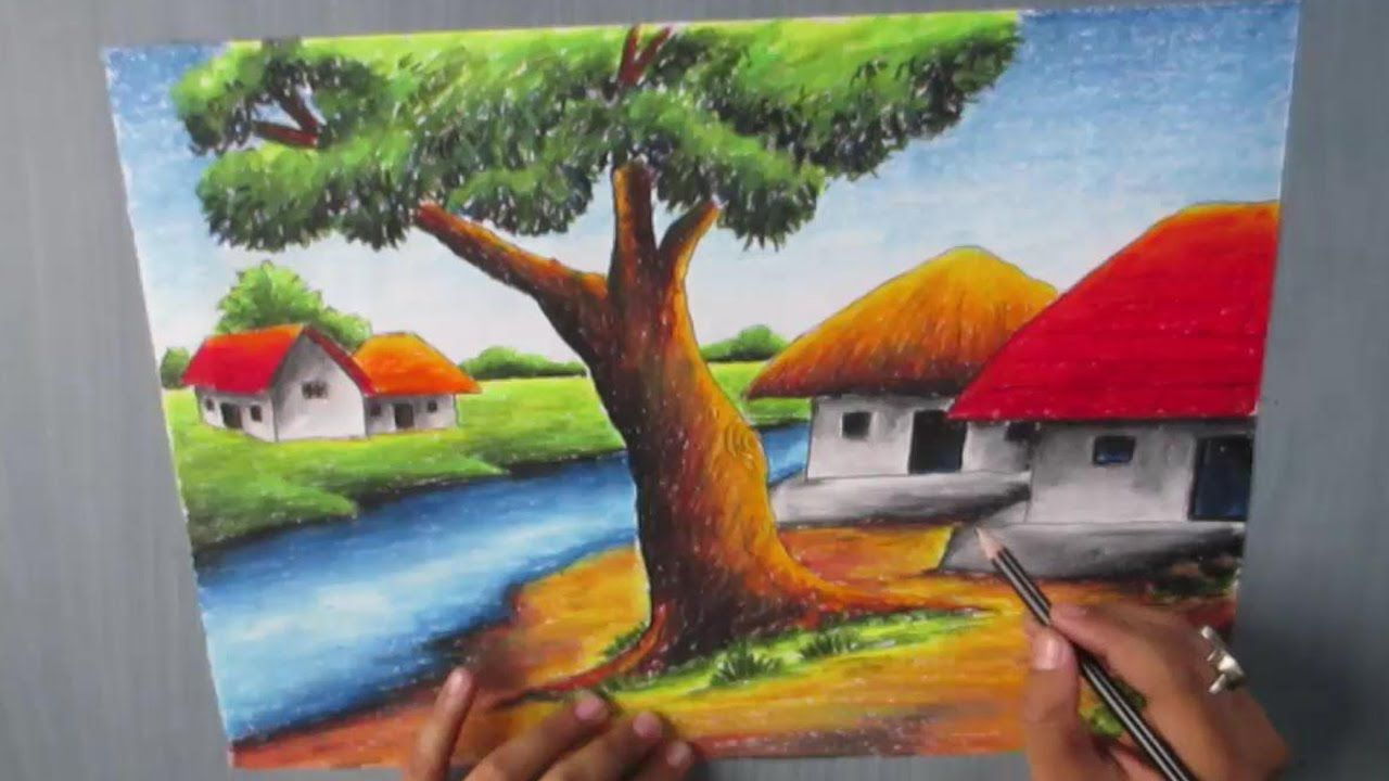 How To Draw A Village Landscape With Oil Pastel Episode 16 Landscape Pencil Drawings Oil Pastel Pastel Painting