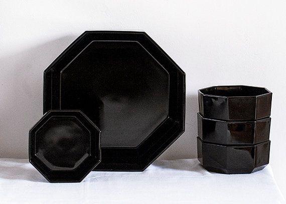 Vintage French Retro Arcoroc Black Amethyst Octagon Bowls Onyx ...