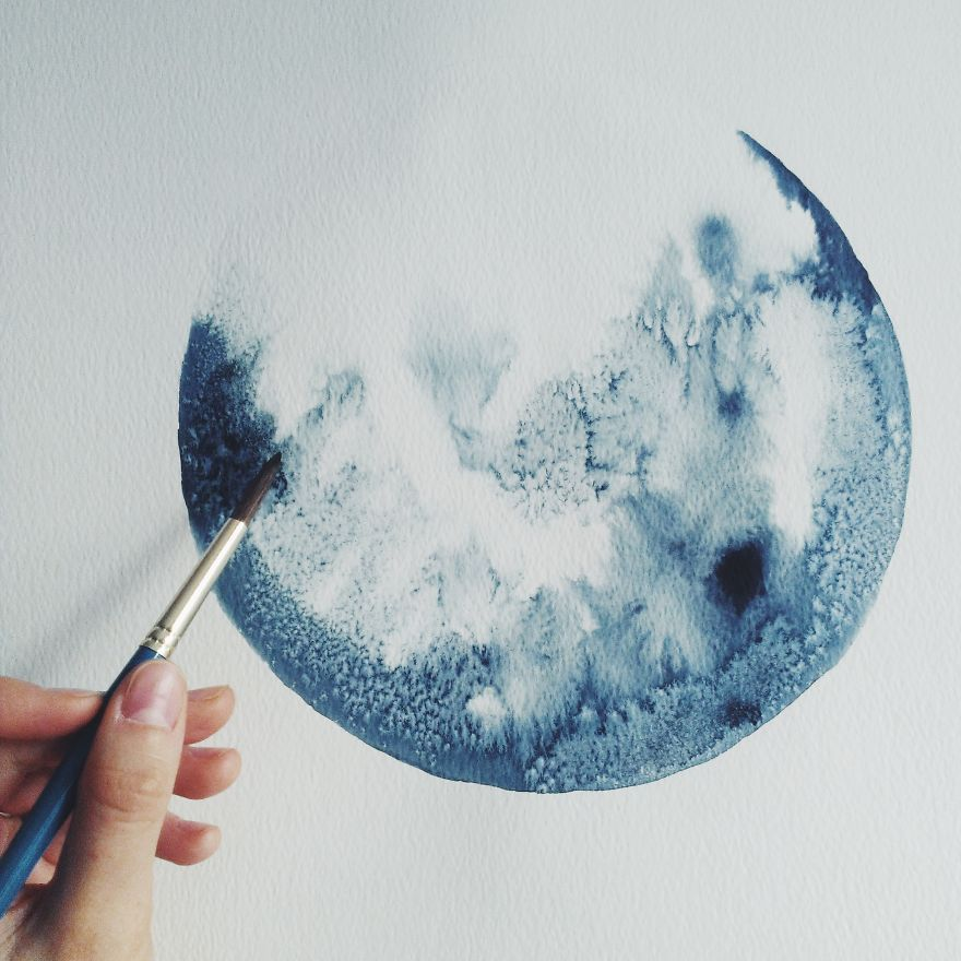 I Watercolor Monochromatic Indigo Moons Lune A L Aquarelle