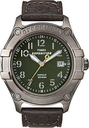 Timex T49804 Mens Trail Series Metal Field Green Dial Brown Lthr Strap This Is An Amazon Associate S Pin Find Ou Brown Leather Watch Timex Watch Men Timex
